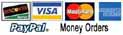 MasterCard, Visa, American Express, Diners Club, Pay Pal, Money Orders