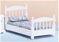 Dollhouse Miniature Single Bed, White