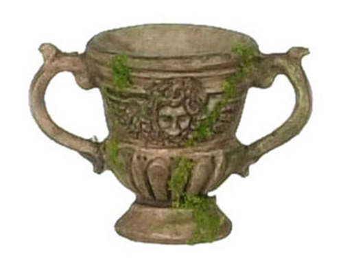 Dollhouse Miniature 3Pc Urn, Brown W/Moss