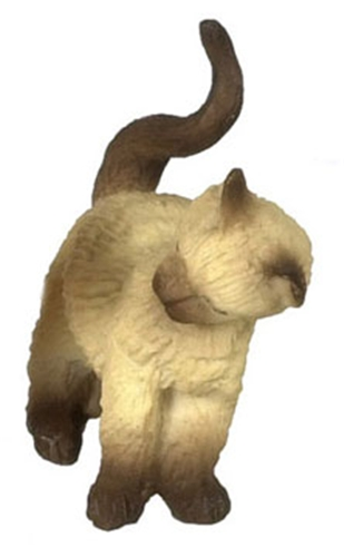 Dollhouse Miniature Cat, Rubbing Left, Siamese