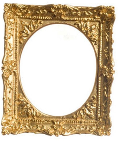 Dollhouse Miniature Gold Plated Frame, Oval 2-3/4X3-1/8In