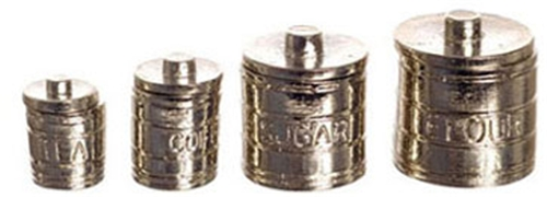 Dollhouse Miniature Set Of 4 Engraved Canisters
