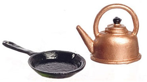 Dollhouse Miniature Skillet And Kettle