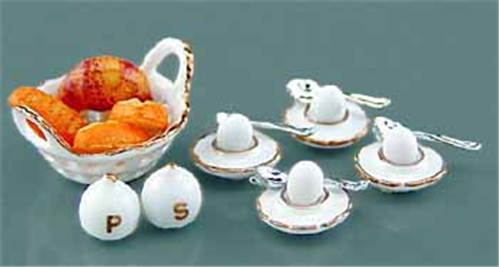 Dollhouse Miniature Reutter's Porcelain Fine Dollhouse Miniature Breakfast Set W/Eggs