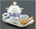 Dollhouse Miniature Reutter's Porcelain Fine Dollhouse Miniature Gold Blue Onion Soup Set