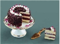 Dollhouse Miniature Reutter's Porcelain Fine Dollhouse Miniature Black Forest Cake Set