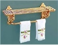 Dollhouse Miniature Reutter's Porcelain Fine Dollhouse Miniature Brass Towel Rack W/Towels