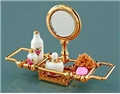 Dollhouse Miniature Reutter's Porcelain Fine Dollhouse Miniature Brass Bathtub Rack/Mirror Set