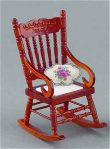 Dollhouse Miniature Reutter's Porcelain Fine Dollhouse Miniature Rocking Chair W/Cushion