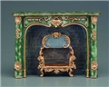 Dollhouse Miniature Reutter's Porcelain Fine Dollhouse Miniature Green Fireplace Unit