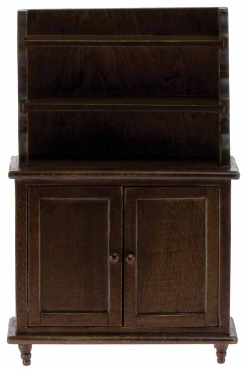 Dollhouse Miniature Hutch, Walnut