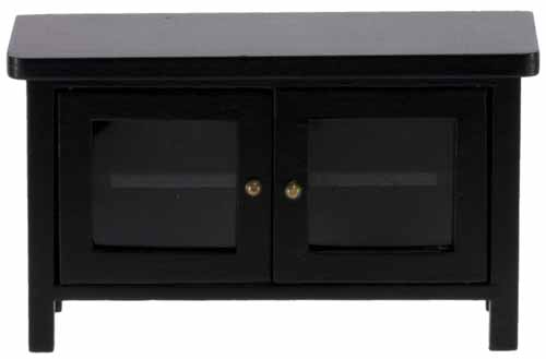 Dollhouse Miniature TV Stand, Black