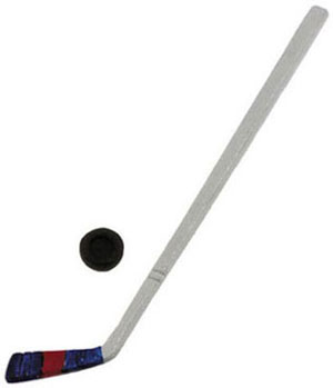 Dollhouse Miniature Hockey Stick, with Puck