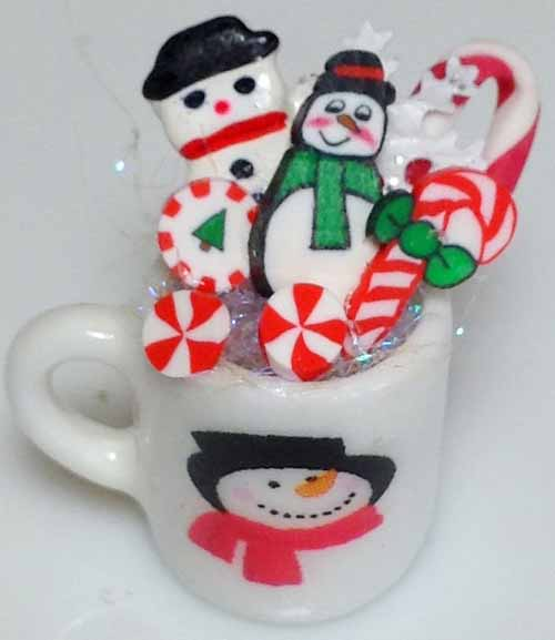 Dollhouse Miniature Filled Christmas Mug