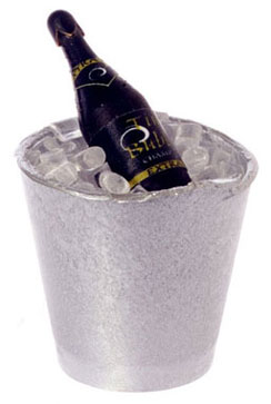 Dollhouse Miniature Bottle Of Champagne In Bucket Of Ice