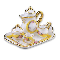 Dollhouse Miniature Reutter's Porcelain Fine Dollhouse Miniature French Rose Coffee Set w/Tray