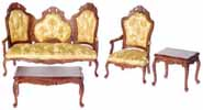 Dollhouse Miniature Rococo Living Room Set, 4 pc, Walnut