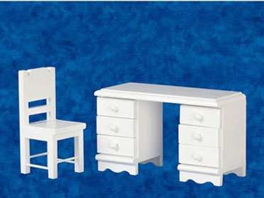 Dollhouse Miniature Desk & Chair Set, White