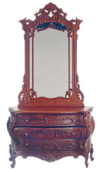 Dollhouse Miniature Bourbon Dressing Table with Mirror