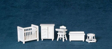 Dollhouse Miniature1/2 In Baby Room Set, 5 pc,