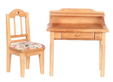 Dollhouse Miniature Small Desk with Chair, Oak