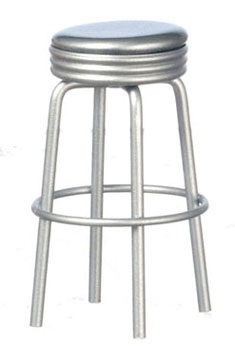 Dollhouse Miniature1950'S Style Silver Stool