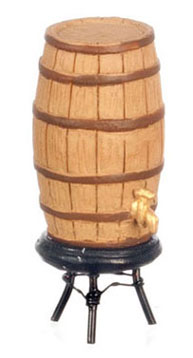 Dollhouse Miniature Wine Barrel with Spigot And Stand