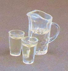 Dollhouse Miniature Water Pitcher w/2 Glasses