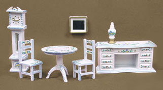 "Dollhouse Miniature 1/4"" Scale Parlor Set Hand Painted with Blue"