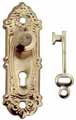 Opryland Door Handle Set with Key, Brass