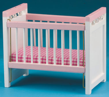 Dollhouse Miniature Crib, Pink and White