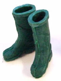 Dollhouse Miniature Rubber Boots, Green