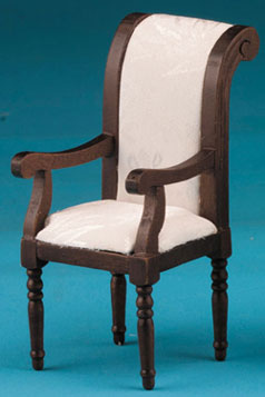 Dollhouse Miniature Armchair, Walnut with White Fabric