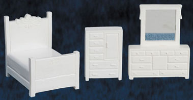 Dollhouse Miniature Bedroom Set, White, 3pc, 1/4 Inch Scale