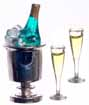 Dollhouse Miniature Champagne, Ice, 2 Glasses