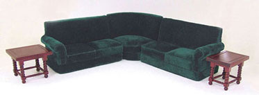 Dollhouse Miniature Corner Couch Set 5Pcs Green