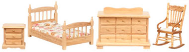 Dollhouse Miniature Bedroom Set/4/Oak