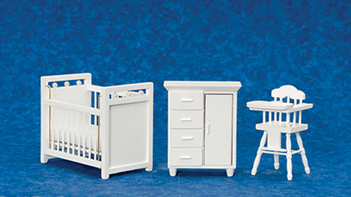 Dollhouse Miniature Nursery Set/3, White