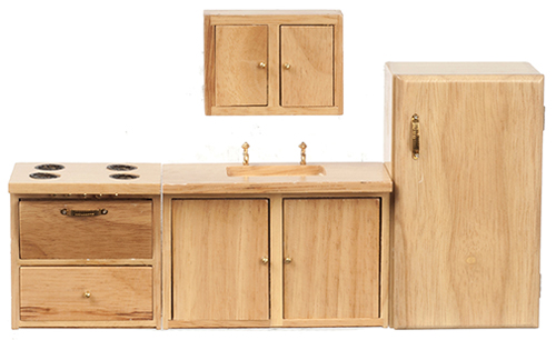 Dollhouse Miniature Modern Kitchen Set, Oak, 4Pc