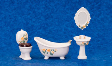 Dollhouse Miniature Porcelain Bath Set, 4Pc