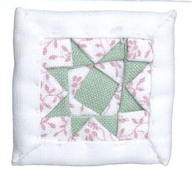 Dollhouse Miniature Floral Pillow, white, pink and green