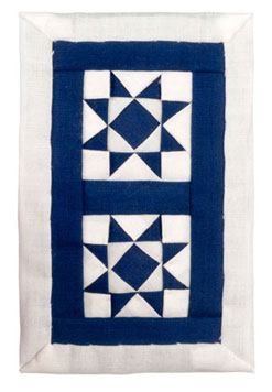 Dollhouse Miniature White and Blue Star Quilt