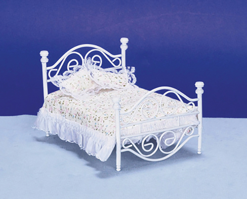 Dollhouse Miniature Brass Bed, White