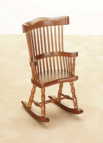 Dollhouse Miniature Windsor Rocker, Walnut