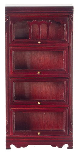 Dollhouse Miniature Barrister Bookshelf, Mahogany