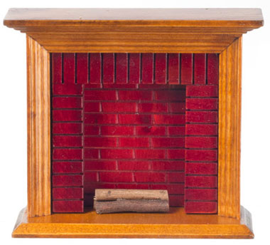 Dollhouse Miniature Fireplace, Walnut