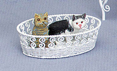 Dollhouse Miniature White Wire Dog Bed