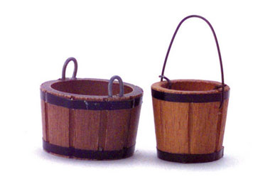 Dollhouse Miniature Bucket Set, 2 pc.