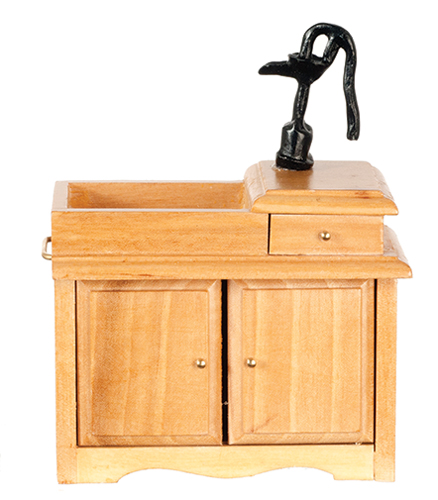 Dollhouse Miniature Wet Sink, Oak