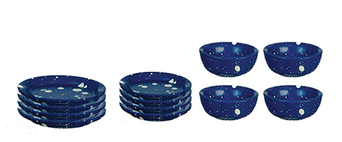 Dollhouse Miniature Blue Spatter Dishes, 12 pc.